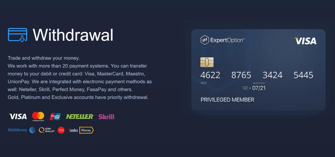 ExpertOption deposit and withdrawal methods