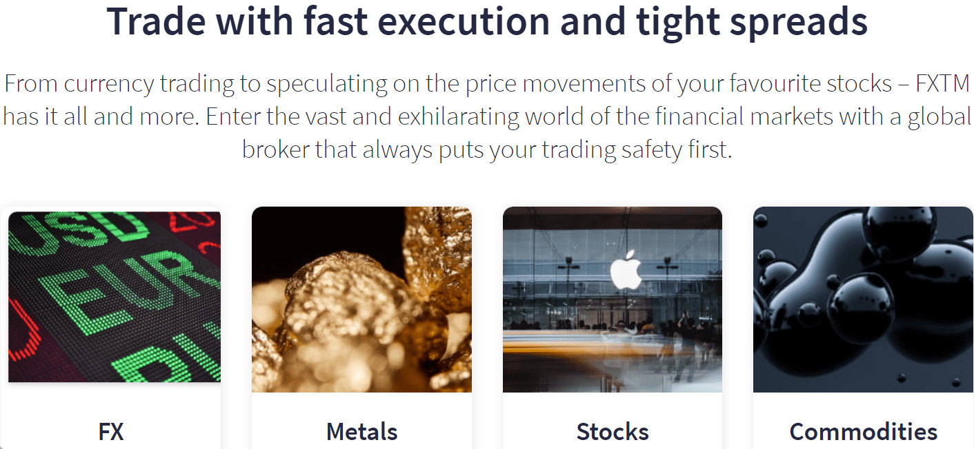 FXTM trading instruments available for traders