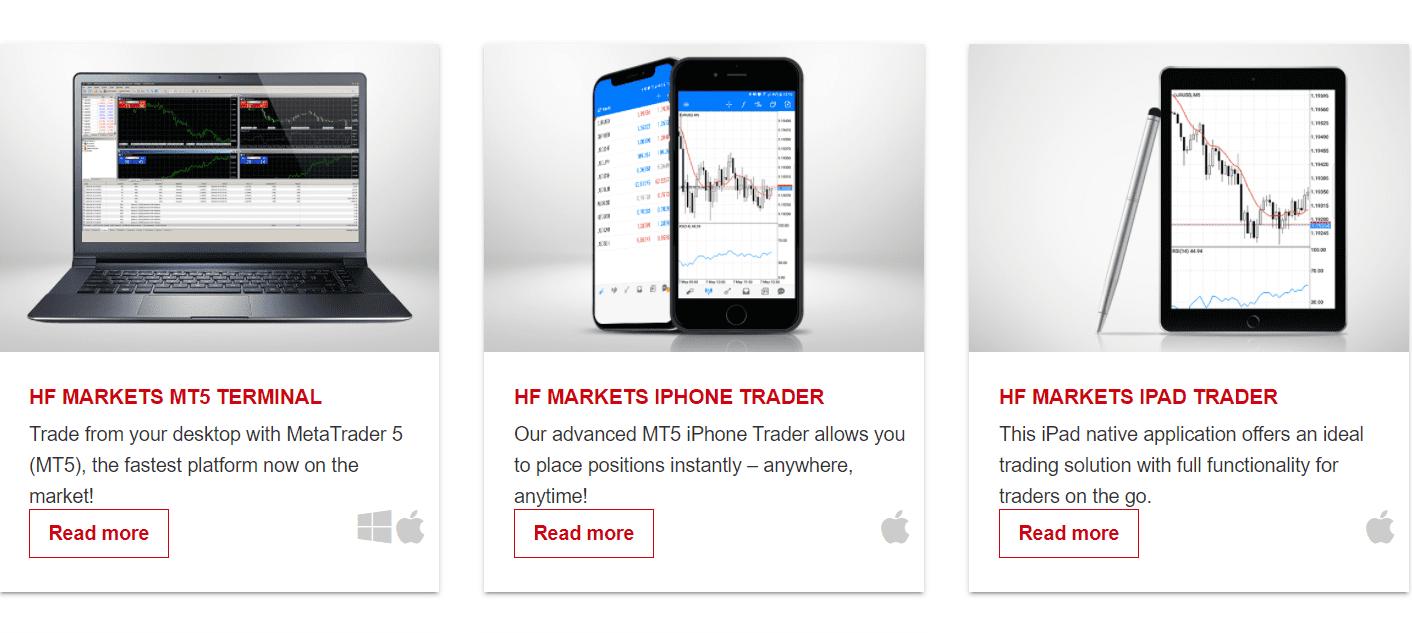 HF Markets trading platforms