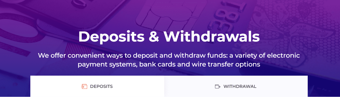 IQ Option deposits and withdrawals options