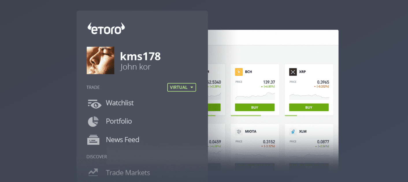 eToro trading demo account with virtual funds